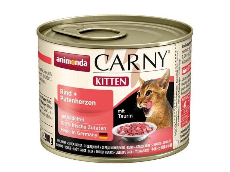 Animonda Влажный корм (консервы) с ГОВЯДИНОЙ и СЕРДЦЕМ индейки, для КОТЯТ (Carny Kitten), 200 г - Фото