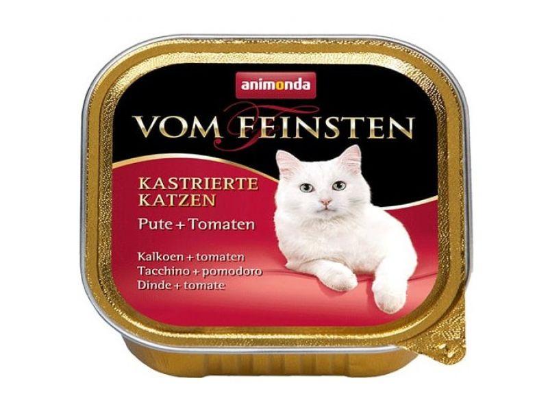 Animonda Влажный корм (консервы) с ИНДЕЙКОЙ и ТОМАТАМИ для КАСТРИРОВАННЫХ кошек (Vom Feinsten for castrated cats), 100 г   - Фото