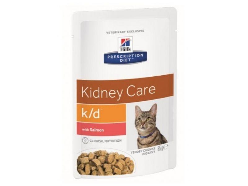 Паучи Hill's Canned Vet K/D с ЛОСОСЕМ для кошек при лечении заболеваний почек, 85 г - Фото