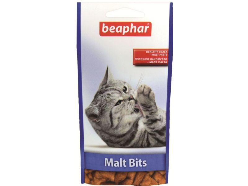 Beaphar Malt Bits Лакомство с КУРИЦЕЙ для вывода шерсти из желудка, для кошек - Фото