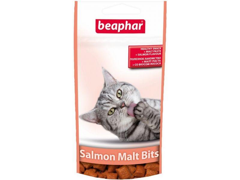 Beaphar Malt Bits Лакомство с ЛОСОСЕМ для вывода шерсти из желудка, для кошек, 75 шт, 35 гр - Фото