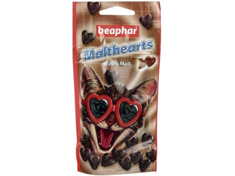 """Beaphar MaltHearts Лакомство """"Сердечки"""" с мальт-пастой для вывода шерсти у кошек, 150 шт, 70 гр - Фото"""