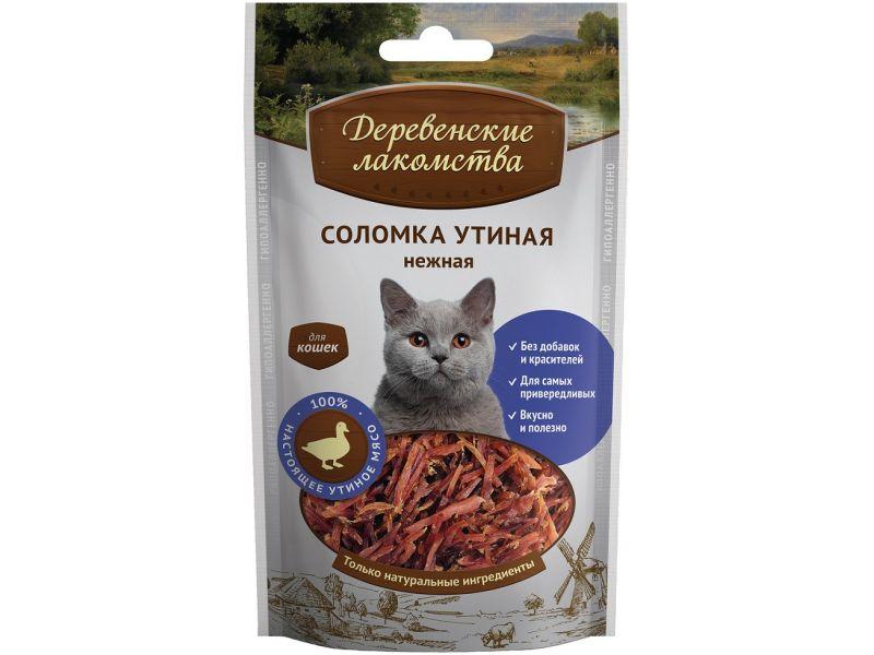 Деревенские лакомства УТИНАЯ СОЛОМКА для кошек, 45 гр  - Фото