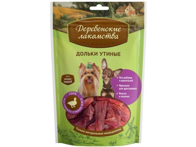 Деревенские лакомства УТИНЫЕ ДОЛЬКИ для собак МАЛЫХ пород, 55 гр   - Фото
