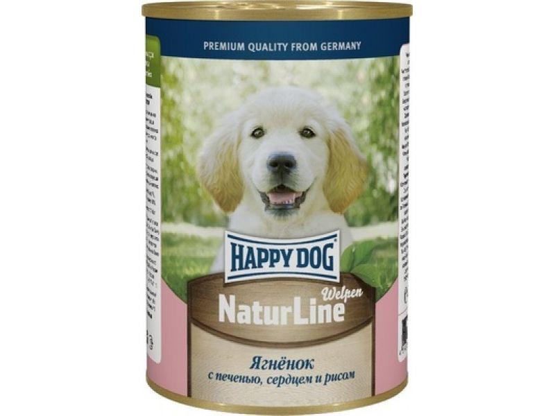 Влажный корм (консервы) Happy Dog: АППЕТИТНЫЙ ЯГНЕНОК с печенью, сердцем и рисом для ЩЕНКОВ, 410 гр  - Фото