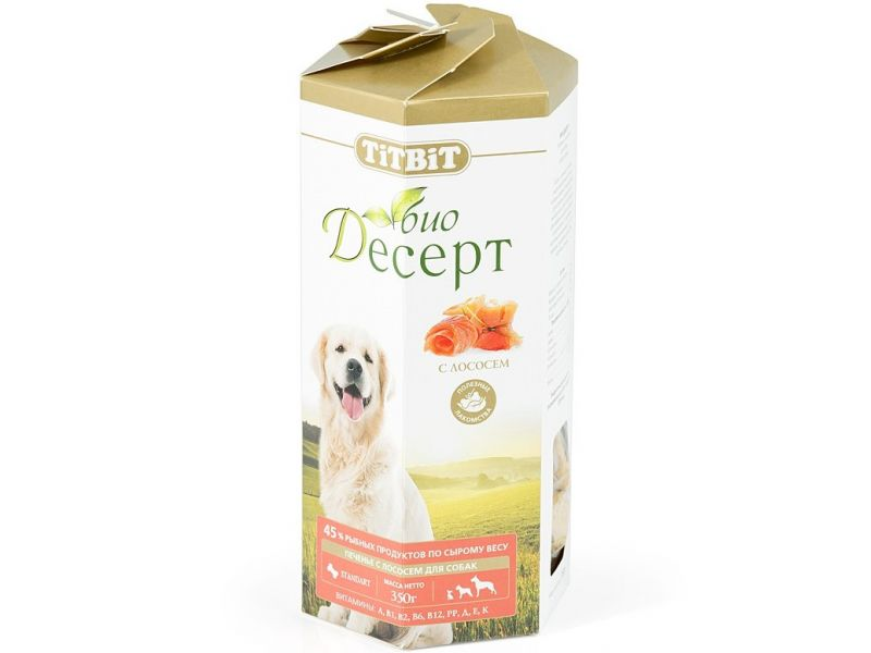 TiTBiT ПЕЧЕНЬЕ Био-Десерт с ЛОСОСЕМ стандарт, для собак, 350 гр   - Фото