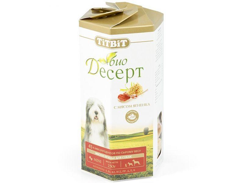 TiTBiT ПЕЧЕНЬЕ Био-Десерт с мясом ЯГНЕНКА мини, для собак, 250 гр  - Фото