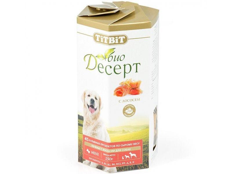 TiTBiT ПЕЧЕНЬЕ Био-Десерт с ЛОСОСЕМ мини, для собак, 250 гр  - Фото
