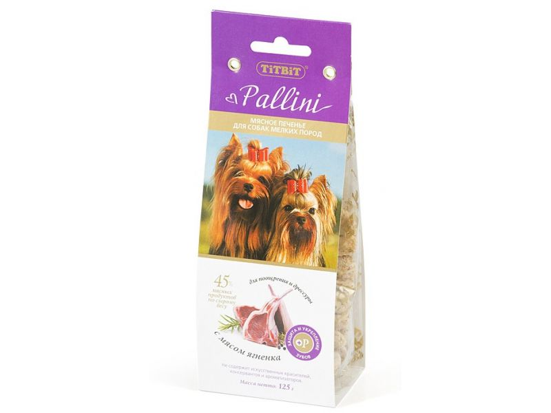TiTBiT ПЕЧЕНЬЕ Pallini с ЯГНЕНКОМ, для собак, 125 гр - Фото