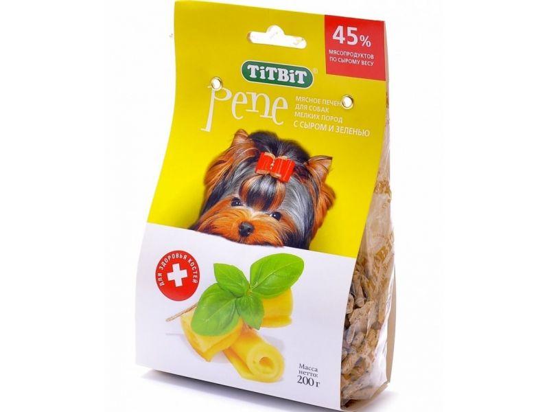 TiTBiT Печенье Пене с СЫРОМ и ЗЕЛЕНЬЮ (йорк), для собак МЕЛКИХ пород, 200 гр - Фото