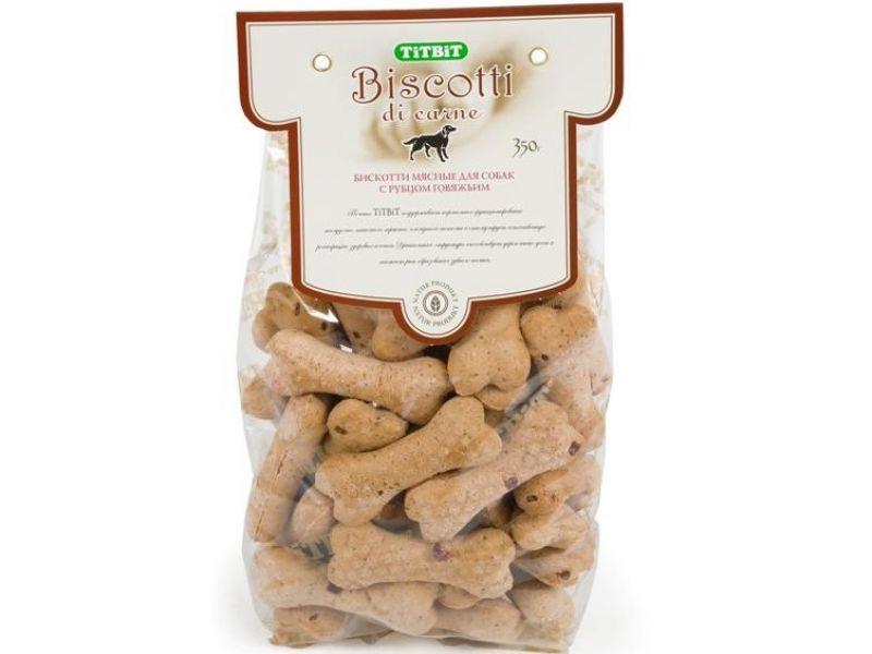 TiTBiT Печенье Бискотти с ГОВЯЖЬИМ РУБЦОМ, для собак, 350 гр   - Фото