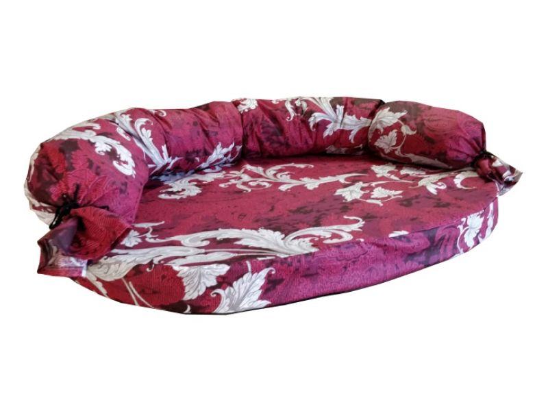 Darsy Диван для животных, СЪЕМНЫЙ чехол, съемный бортик, бязь, бордовый с рисунком - Фото