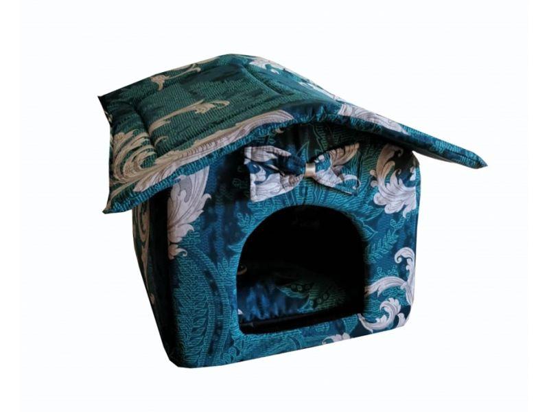 """Darsy Мягкий домик """"Будка"""" для животных, подушка, СЪЕМНАЯ КРЫША, зеленый с рисунком, бязь, 45*40*46 см - Фото"""