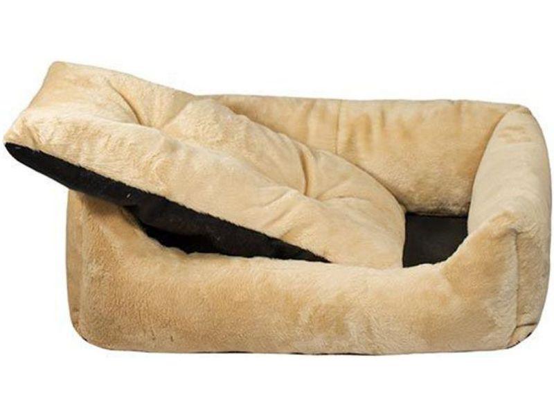 Yami-Yami Лежак прямоугольный, пухлый, бежевый с подушкой (синтепух)  - Фото
