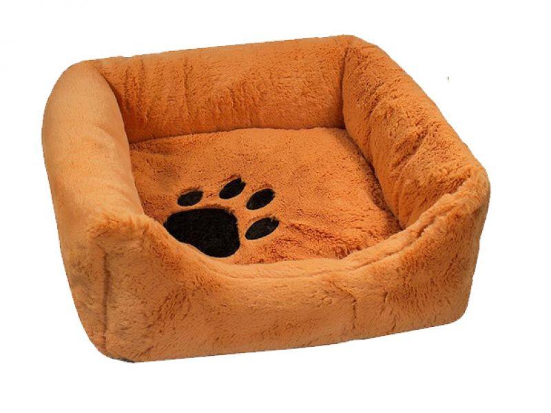 Yami-Yami Лежак квадратный, пухлый, рыжий с подушкой (синтепух)   - Фото