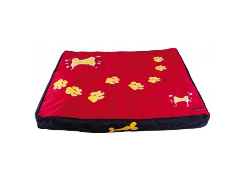 Dezzie Лежак-коврик красный с лапами, съемный чехол, для животных, 80*70*8 см - Фото