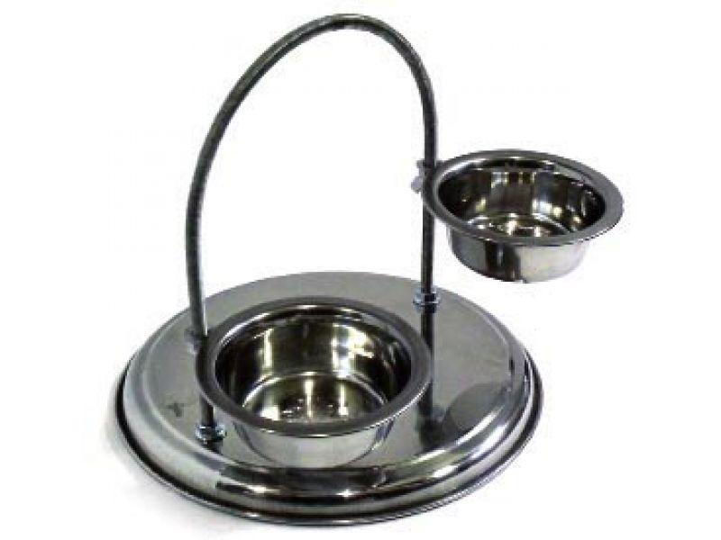 Данко Кормушка дуговая разборная с двумя мисками, регулируемая, хром, для животных, h=20 см - Фото