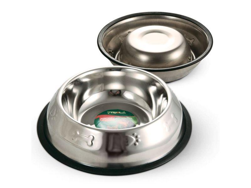 Triol Миска металлическая на резинке, с тиснением,  для собак - Фото