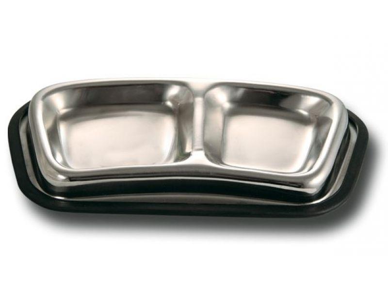 Triol Миска двойная металлическая, на резиновой основе (1080-DCB01), для животных, 140*120 мл - Фото