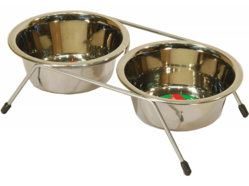 Yami-Yami Подставка с двумя мисками, хром, для собак, 2*800 мл  - Фото
