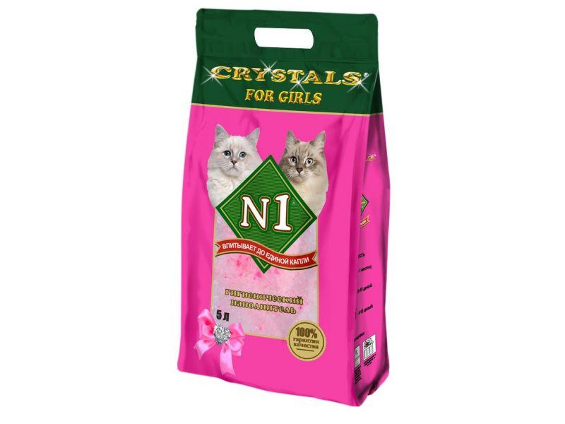 Наполнитель N1 СИЛИКАГЕЛЕВЫЙ для кошечек - розовый (Crystals), 2 кг - Фото