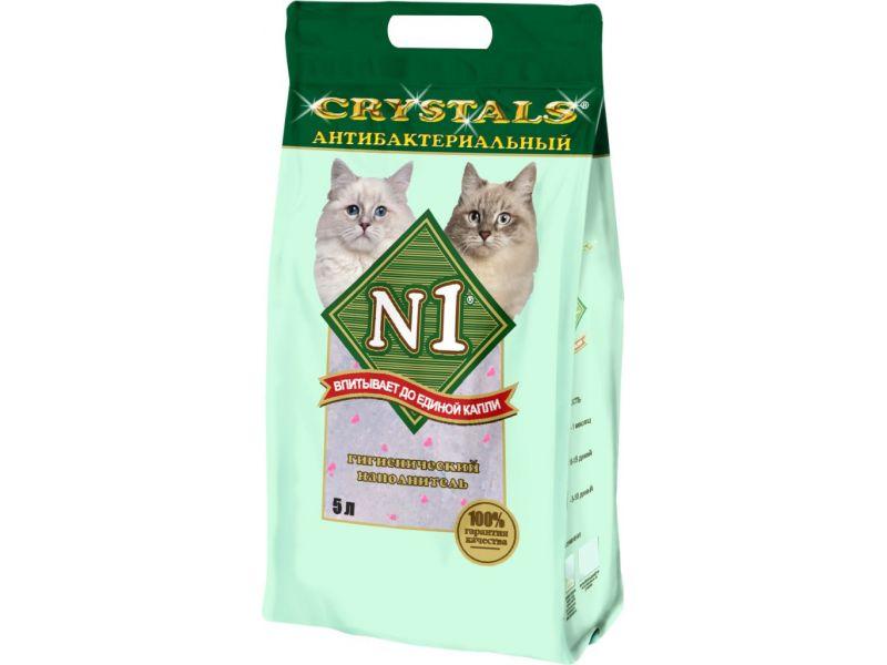 Наполнитель N1 силикагелевый АНТИБАКТЕРИАЛЬНЫЙ - зеленый (Crystals), 2 кг  - Фото