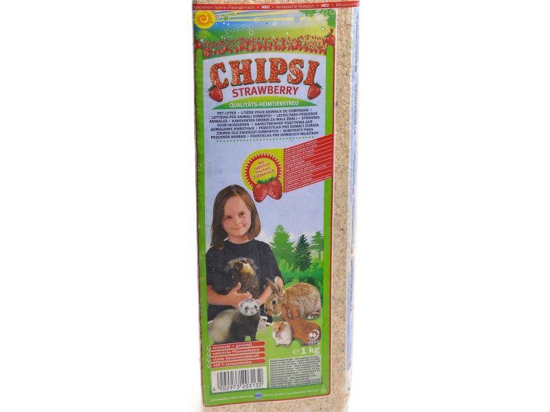 Cat's Best Chipsi Strawberry Опилки с ароматом клубники, 1 кг - Фото