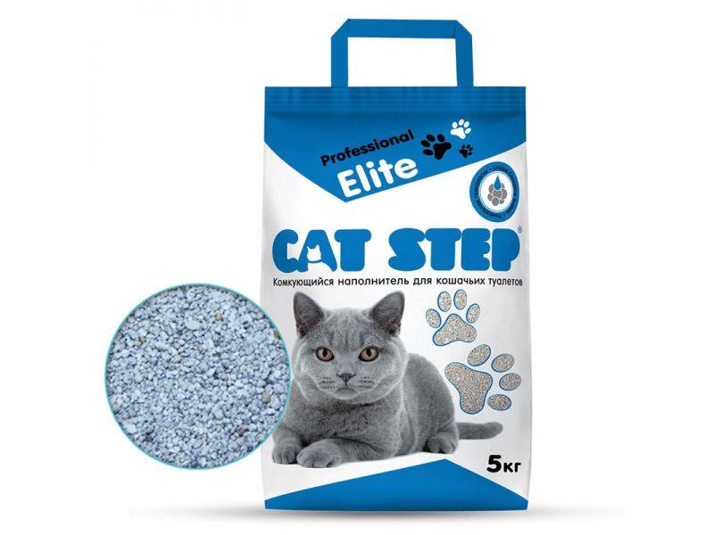 """Cat Step Наполнитель """"Elite Professional"""" КОМКУЮЩИЙСЯ, для кошек, 5 кг - Фото"""