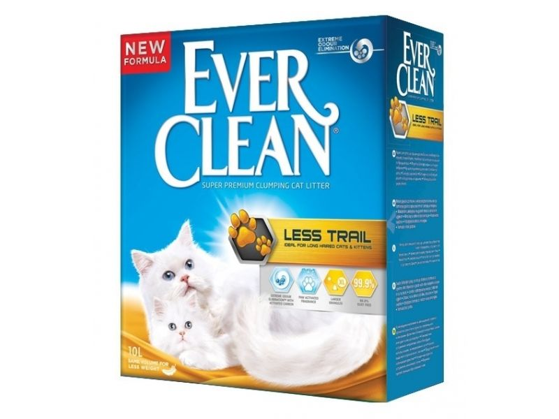 Ever Clean Комкующийся наполнитель для длинношерстных кошек (Less Track), желтая полоса, 10 кг - Фото