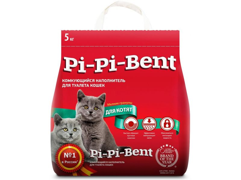PI-PI-BENT Комкующийся наполнитель Для КОТЯТ (Classic), пакет, 5 кг - Фото