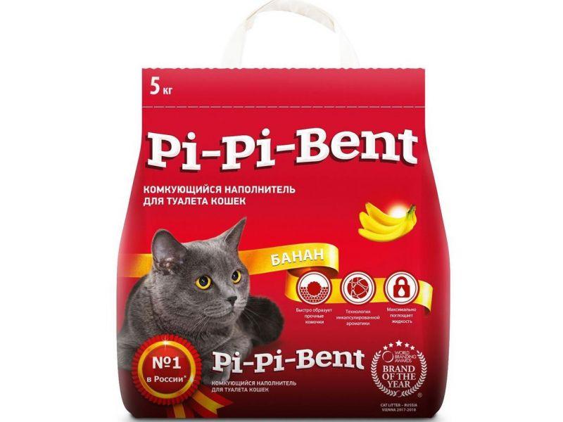 """PI-PI-BENT Комкующийся наполнитель """"Спелый Банан"""" для кошек (Bananas), пакет, 5 кг - Фото"""
