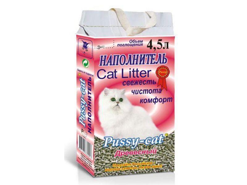 Наполнитель Pussy-Cat ДРЕВЕСНЫЙ, 2 кг на 4,5 л - Фото