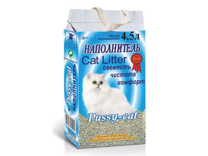 Наполнитель Pussy-Cat ВПИТЫВАЮЩИЙ, цеолитовый, синий пакет, 2 кг на 4,5 л - Фото