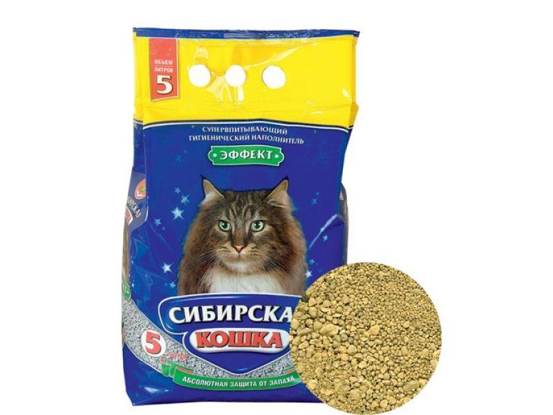 Наполнитель Сибирская кошка впитывающий ЭФФЕКТ, 2,7 кг - Фото