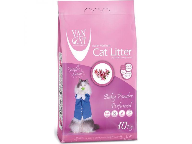 Комкующийся наполнитель VanCat без пыли с ароматом Детской присыпки, пакет (Baby Powder), 10 кг - Фото