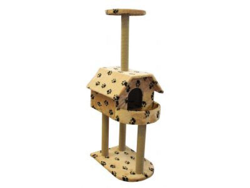 Пушок Домик для кошки меховой с балконом, 62*50*140 см - Фото