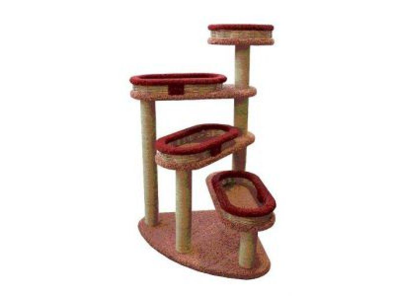 """Пушок Когтеточка для кошек ковролиновая """"Винтовая лестница"""" с плетеными лежанками, 84*84*143 см  - Фото"""