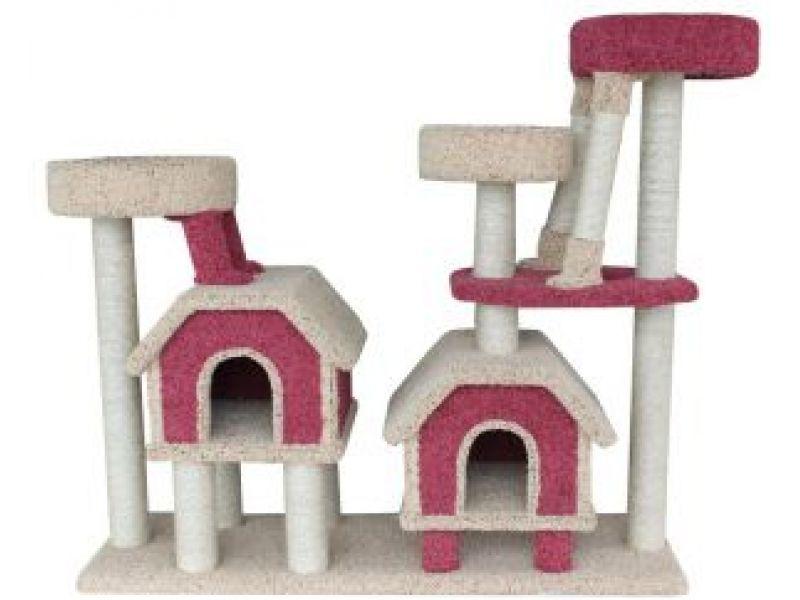 """Пушок Комплекс для кошек ковролиновый """"Две конуры"""", 142*47*130 см  - Фото"""