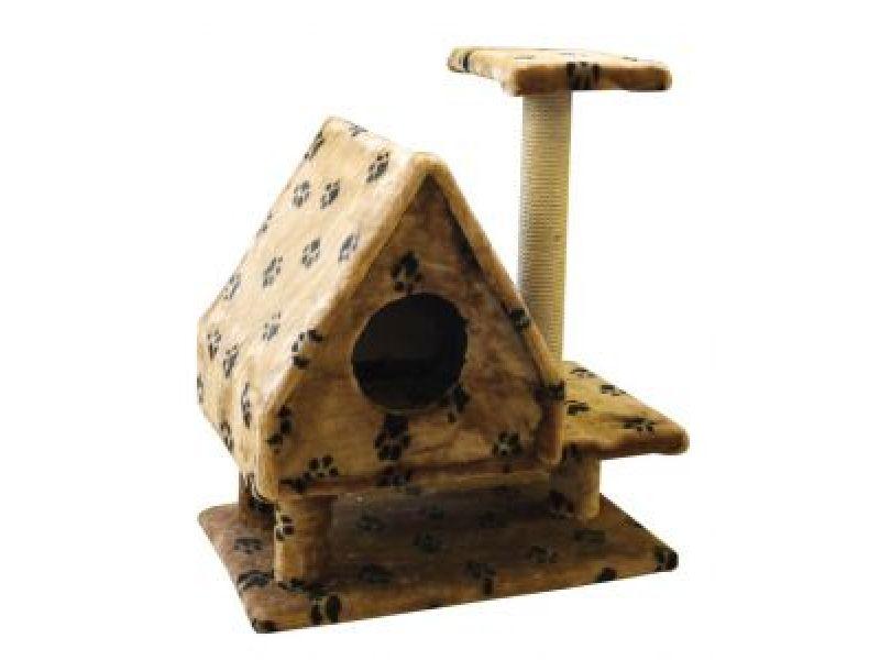 """Пушок Меховой домик для кошки """"Избушка"""" на ножках, 64*40*73 см  - Фото"""