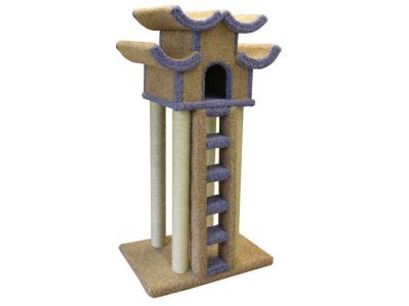 """Пушок Домик для кошек ковролиновый """"Пагода с лестницей"""", 84*68*155 см   - Фото"""