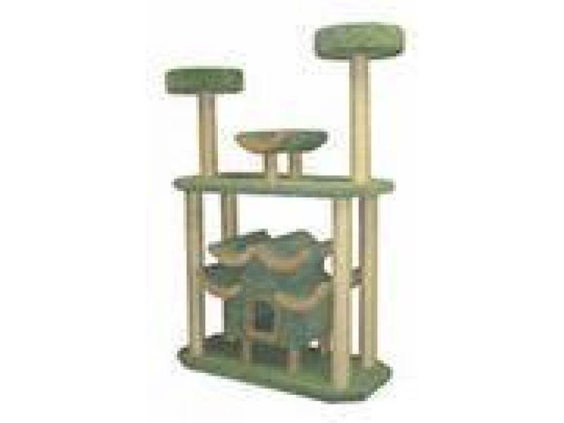 Пушок Большой комплекс для кошек ковролиновый с Пагодой, 125*60*180 см   - Фото