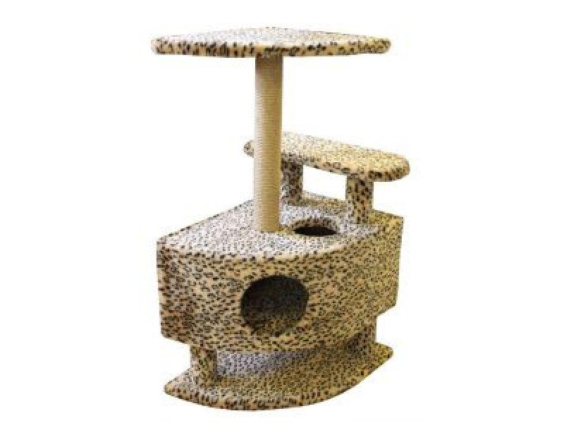Пушок Меховой домик для кошки угловой со ступенькой на ножках, 57*46*98 см - Фото