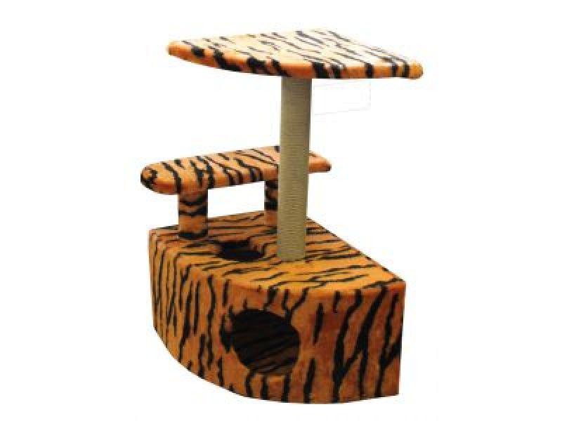 Пушок Меховой домик для кошки угловой со ступенькой, 57*46*80 см  - Фото