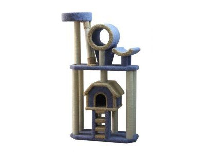 Пушок Большой комплекс для кошек ковролиновый с лестницей, 90*50*180 см  - Фото