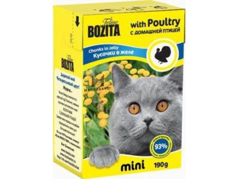 Bozita MINI. Кусочки в ЖЕЛЕ для кошек с ДОМАШНЕЙ ПТИЦЕЙ (Poultry), 190 г - Фото
