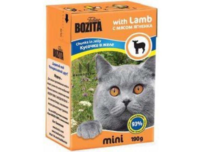 Bozita MINI. Кусочки в ЖЕЛЕ для кошек с мясом ЯГНЕНКА (Lamb), 190 г - Фото