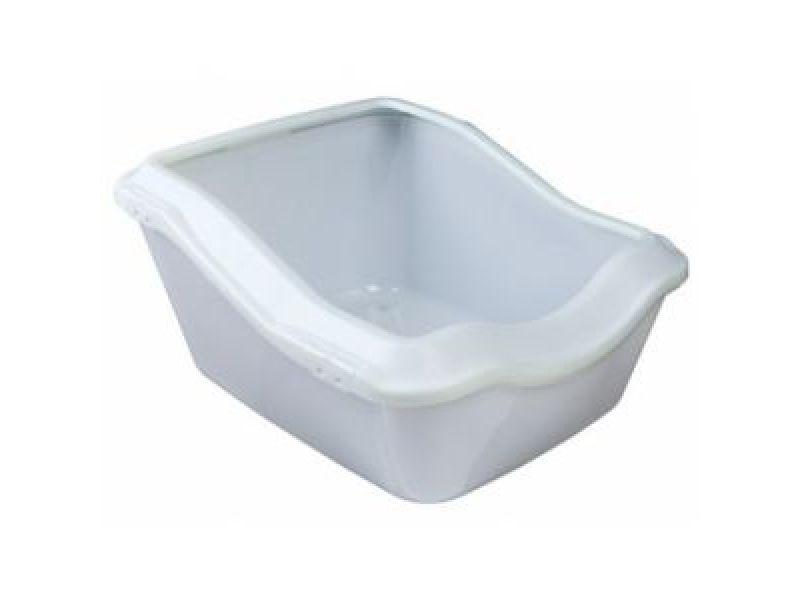 Trixie Туалет пластиковый с высоким бортиком для кошек (40371), белый, 54*45,5*21(29) см  - Фото