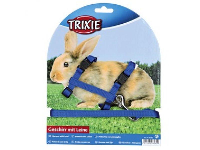 Trixie Шлейка с поводком для кролика (6260), 25-44 см/10 мм/1,25 м   - Фото