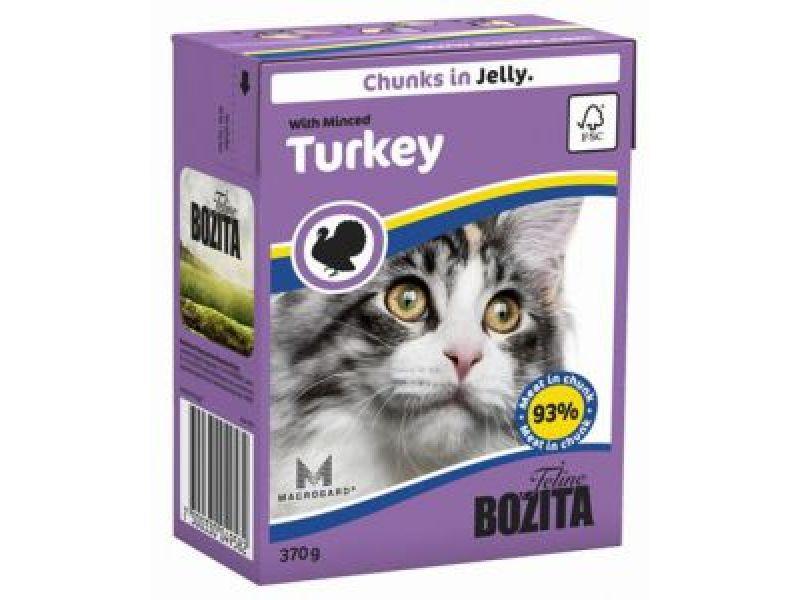 NEW Влажный корм для кошек BOZITA® Feline: Кусочки в ЖЕЛЕ с РУБЛЕННОЙ ИНДЕЙКОЙ (Minced Turkey),370 гр   - Фото