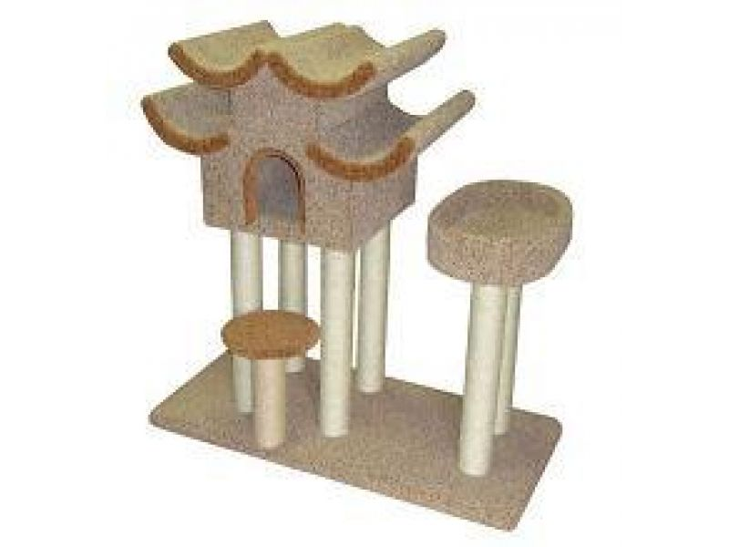 """Пушок Домик для кошек ковролиновый """"Пагода с овальной лежанкой"""", 100*70*120 см   - Фото"""